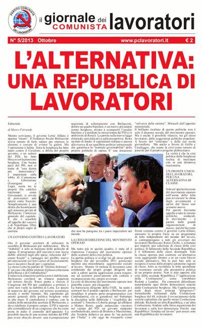 Il Giornale Comunista dei Lavoratori - Ottobre 2013
